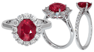 Ruby engagement rings with pave set diamonds set in platinum