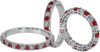 Ruby and diamond wedding bands set in white gold and platinum